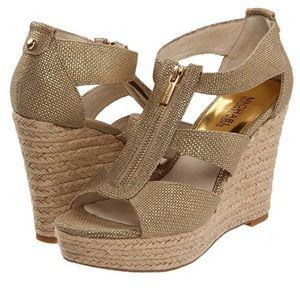Michael Kors Damita Wedge Espadrille Sandals Gold